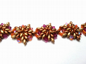 Star Flower Bracelet with Super Duo beads, Jewellery Making Kit with SWAROVSKI® ELEMENTS Bronze and Fuchsia